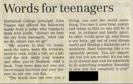 Judge teenager bullshit